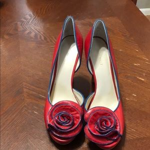 Nine West Red 3.5 Inch Pump with Flower Detail
